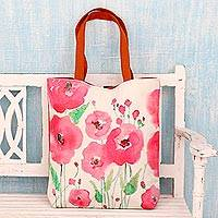 Cotton shoulder bag, 'Pink Blossoms' - Artisan Crafted 100% Cotton Shoulder Bag with Floral Motif
