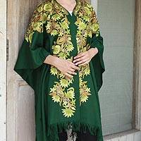 Embroidered wool cape, 'Ravishing Green' - Indian Embroidered Green Wool Cape with Floral Motifs