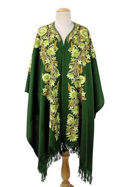 Indian Embroidered Green Wool Cape with Floral Motifs