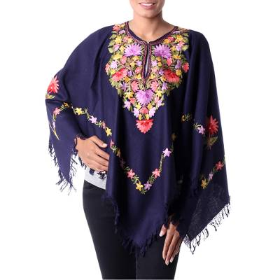 Dark Blue Wool Poncho with Pastel Flower Embroidery