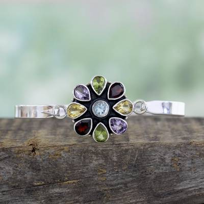 Multi-gemstone bangle bracelet, 'Floral Emblem' - Artisan Crafted Floral Multi-Gemstone Silver Bangle Bracelet