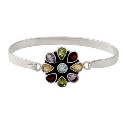 Artisan Crafted Floral Multi-Gemstone Silver Bangle Bracelet
