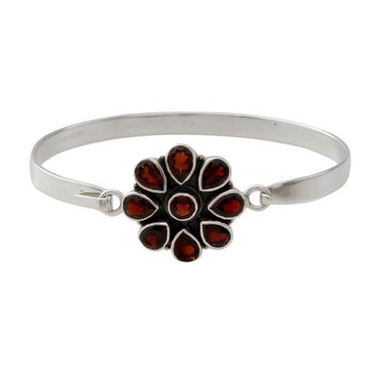 Handmade Garnet and Sterling Silver Floral Bangle Bracelet