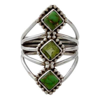 Handmade Peridot and Reconstituted Turquoise Cocktail Ring