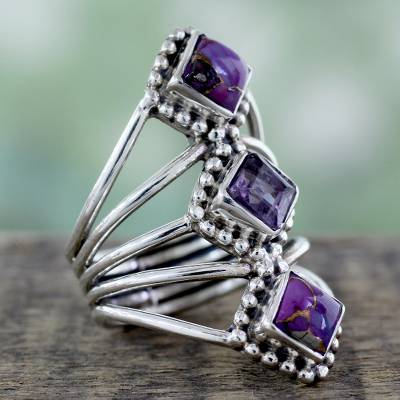 carver amazing silver series speakers - Amethyst and Reconstituted Turquoise Handmade Cocktail Ring