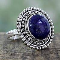 Lapis lazuli cocktail ring, 'Royal Sunset' - Artisan Crafted Lapis Lazuli and Sterling Silver Ring