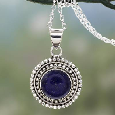 Lapis lazuli pendant necklace, 'Royal Sunset' - Artisan Crafted Lapis Lazuli and Sterling Silver Necklace