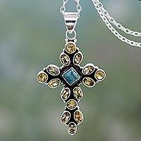 Citrine pendant necklace, 'Radiant Cross' - Citrine and Sterling Silver Necklace with Cross Pendant