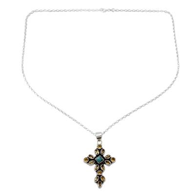 Citrine and Sterling Silver Necklace with Cross Pendant