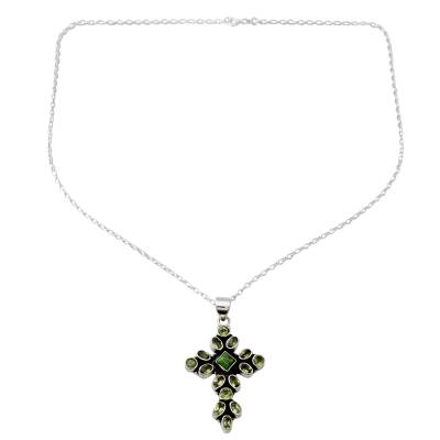Peridot and Sterling Silver Necklace with Cross Pendant