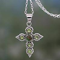 Peridot cross necklace, 'Divine Harmony' - Artisan Crafted Peridot and Sterling Silver Cross Necklace
