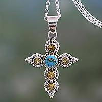 Citrine cross necklace, 'Divine Harmony' - Artisan Crafted Citrine and Silver Cross Pendant Necklace