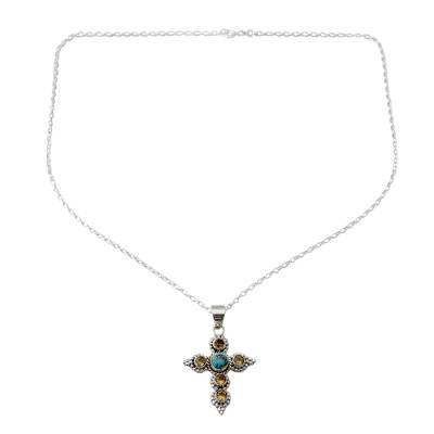 Artisan Crafted Citrine and Silver Cross Pendant Necklace