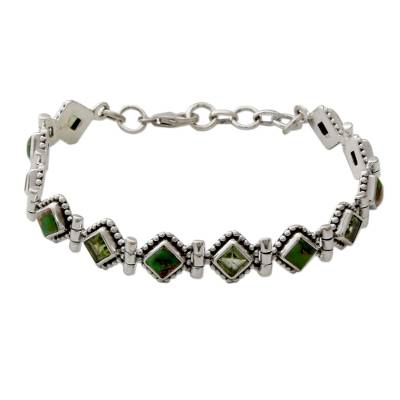 India Sterling Silver Tennis Bracelet Turquoise and Peridot
