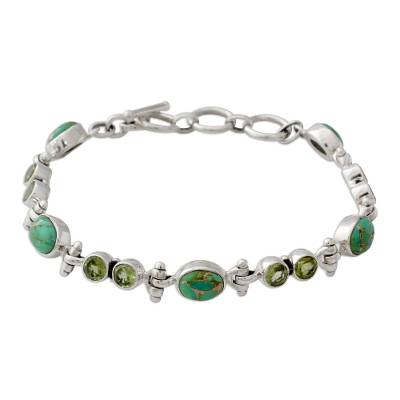 Peridot and Reconstituted Turquoise Silver Link Bracelet