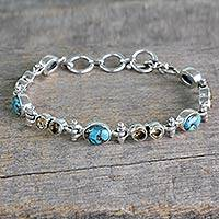 Citrine link bracelet, 'Sun and Earth' - Citrine and Reconstituted Turquoise Silver Link Bracelet