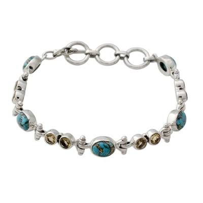 Citrine and Reconstituted Turquoise Silver Link Bracelet