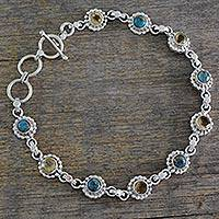 Citrine link bracelet, 'Petite Flowers' - Indian Sterling Silver Jewelry with Citrine and Turquoise