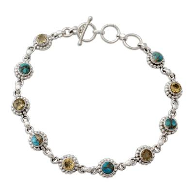 Indian Sterling Silver Jewelry with Citrine and Turquoise