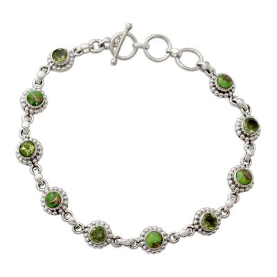 Sterling Silver Peridot and Composite Turquoise Bracelet