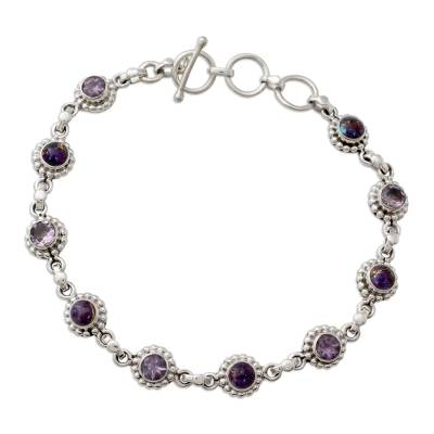 Amethyst Sterling Silver and Composite Turquoise Bracelet