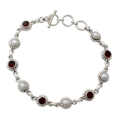 Sterling Silver Bracelet with Garnet and Cultured Pearls