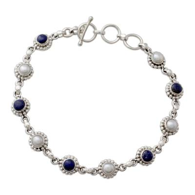 Cultured Pearl Floral Bracelet in Silver with Lapis Lazuli