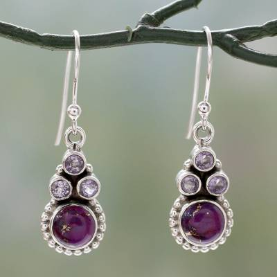 Amethyst dangle earrings, 'Petite Flowers' - Amethyst Sterling Silver Earrings with Composite Turquoise