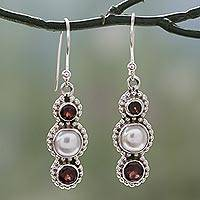 Cultured pearl and garnet dangle earrings,
