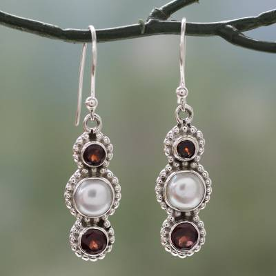 Cultured pearl and garnet dangle earrings, 'Petite Floral Trio' - Handcrafted Indian Garnet and Cultured Pearl Earrings