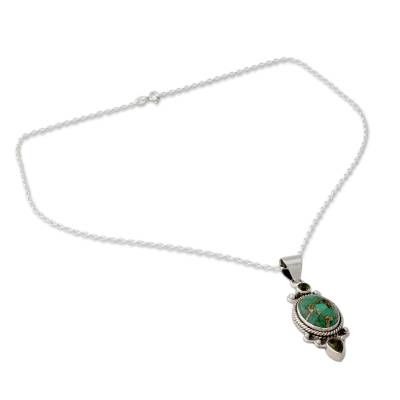 Pendant Necklace with Peridot and Composite Turquoise