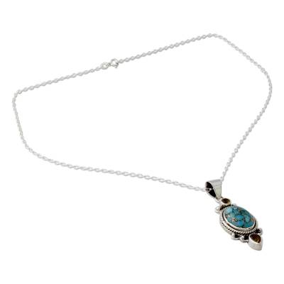 Silver Pendant Necklace with Citrine and Composite Turquoise