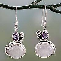 Moonstone and amethyst dangle earrings, 'Glistening Beauty' - Hand Crafted Moonstone and Amethyst Dangle Earrings
