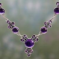 Amethyst pendant necklace, 'Purple Lilacs' - Hand Crafted Amethyst and Sterling Silver Pendant Necklace
