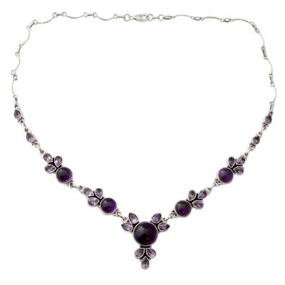 Hand Crafted Amethyst and Sterling Silver Pendant Necklace