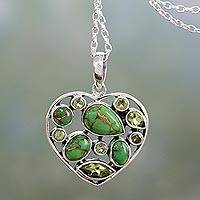 Peridot pendant necklace, 'Green Jaipuri Heart' - Handmade Peridot and Sterling Silver Green Heart Necklace