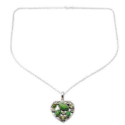 Handmade Peridot and Sterling Silver Green Heart Necklace
