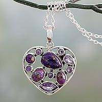 Amethyst pendant necklace, 'Lilac Jaipuri Heart' - Hand Crafted Amethyst and Sterling Silver Heart Necklace