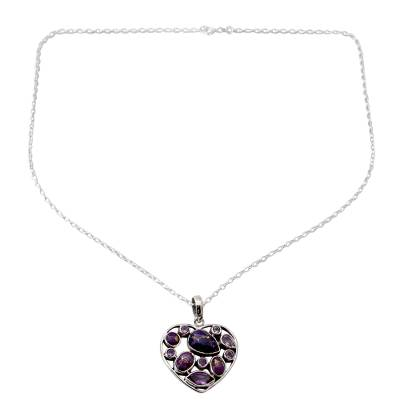 Hand Crafted Amethyst and Sterling Silver Heart Necklace