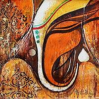 'Remover of Impurities' - Indian Original Acrylic on Canvas Painting of Ganesha