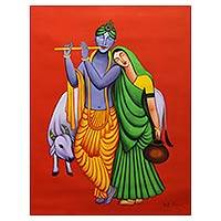 'Ever Loving Radha Krishna' - Original Acrylic on Canvas Painting of Radha and Krishna
