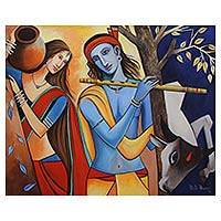 'Benevolent Love' - Original Acrylic on Canvas Painting of Radha and Krishna