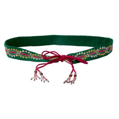 Embroidered Cotton Tie Belt with Hand Beaded Tassels