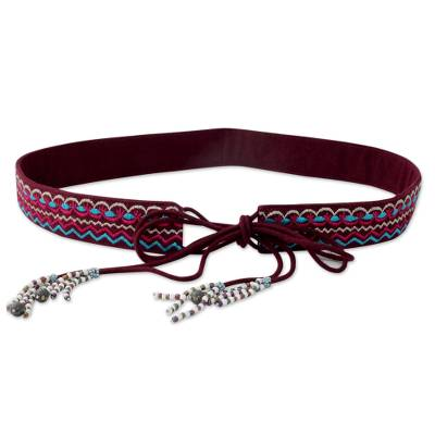 Indian Embroidered Cotton Burgundy Tie Belt with Beads