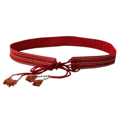 Red Embroidered Cotton Tie Belt with Beads from India