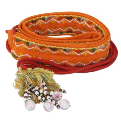 Orange Embroidered Cotton Tie Belt with Tassels and Beads