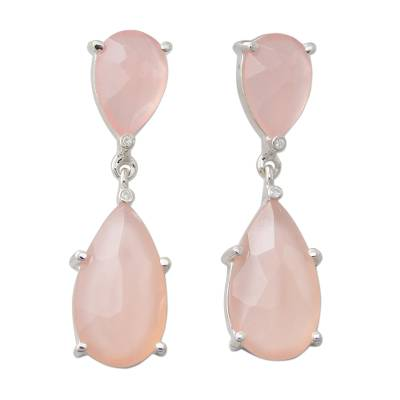 Sterling Silver Dangle Earrings with Pink Chalcedony and CZ