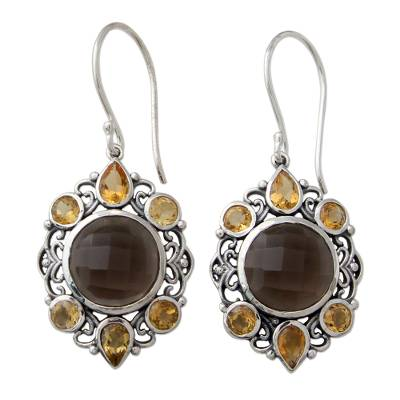 Ornate Silver Earrings with Smoky Quartz and Citrine