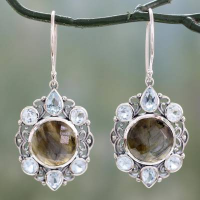 Labradorite and blue topaz dangle earrings, 'Royal Consort' - Artisan Earrings with Labradorite and Blue Topaz in Silver