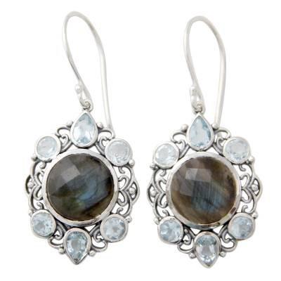 Artisan Earrings with Labradorite and Blue Topaz in Silver